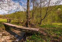 Wooden bridge through forest stream. Beautiful nature scenery in springtime Royalty Free Stock Images