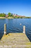 Wooden bridge in front of Brandaholm peninsula Stock Photography