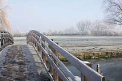 Wooden Bridge on a Frosty Morning Stock Photos