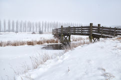 Wooden bridge through frozen river in winter Stock Images