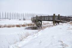 Wooden bridge through frozen river in winter Stock Images