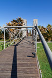 Wooden bridge in a garden Royalty Free Stock Photography