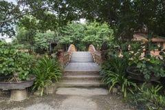 Wooden bridge garden Royalty Free Stock Image