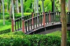 Wooden bridge in the garden Stock Photography