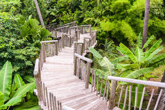 Wooden bridge in garden Stock Images