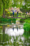 Wooden bridge in the gardens Stock Photos