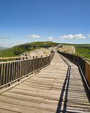 Wooden bridge and Gate of ancient fortress Stock Photography