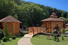 Wooden bridge and gazebo Stock Photography
