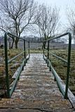 Wooden bridge with green handrail during winter Royalty Free Stock Photo