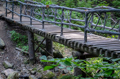 Wooden bridge with guardrail. In forest Royalty Free Stock Photo