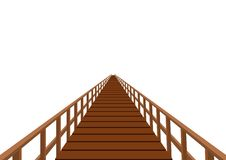 Wooden bridge with a handrail Royalty Free Stock Image