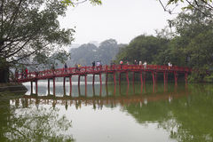 Wooden bridge at Hoan Kiem Lake in Hanoi Stock Photography