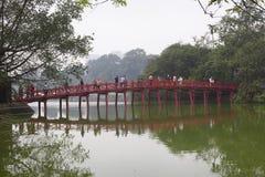 Wooden bridge at Hoan Kiem Lake in Hanoi Stock Photography