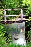 Wooden bridge in Hotnistsa park, Bulgaria Royalty Free Stock Images