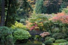 Wooden Bridge, Japanese Garden Stock Photography