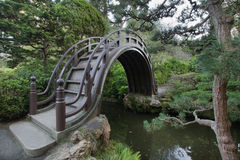 Wooden Bridge at Japanese Garden Royalty Free Stock Photography