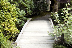 Wooden bridge in Japanese garden Stock Photography