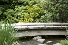 Wooden bridge in Japanese garden Stock Photo