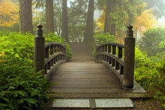 Wooden Bridge at Japanese Garden in Fall Royalty Free Stock Images