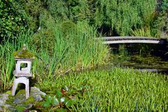 Wooden bridge and Japanese garden lantern on small lush pond. Royalty Free Stock Images