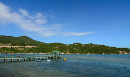 Wooden bridge at the jetty in Nha Trang, Vietnam.  Royalty Free Stock Photo