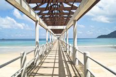 Wooden bridge. In Juara- small village in Malaysia Royalty Free Stock Photos
