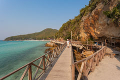 Wooden Bridge, koh lan ,Thailand. Wooden Bridge with beautiful seacape in koh lan ,Thailand Royalty Free Stock Photography