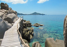Wooden bridge, Koh Nang Yuan island, Thailand Royalty Free Stock Photos