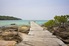 Wooden bridge at Kood island Royalty Free Stock Image