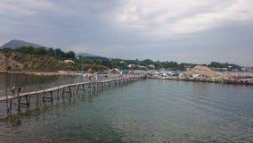 Wooden bridge in Laganas, Zakynthos Royalty Free Stock Photo