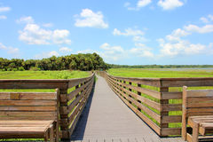 Wooden bridge. On the lake Stock Image
