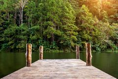 Wooden bridge on the lake. Pang Ung, Thailand.  Royalty Free Stock Images