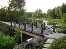 Wooden bridge in the lake. In the park Stock Images