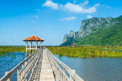 Wooden bridge and lake in Sam Roi Yod National Park Stock Photo
