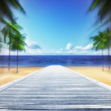 Wooden bridge leading to sea at motion blur. Summer travel destination 3D background illustration Stock Photography