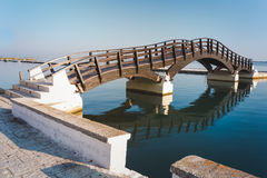 Wooden bridge in Lefkada island, Greece Stock Images