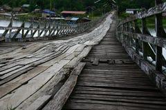 Wooden bridge. Long wooden bridge at Sangklaburi , Thailand Stock Photos