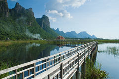 Wooden Bridge in lotus lake Stock Photography