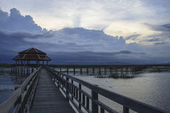 Wooden Bridge in lotus lake. At Khao Sam Roi Yot National Park, Thailand Stock Photography
