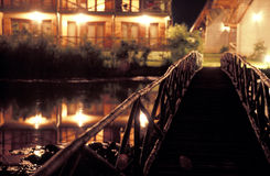 Wooden bridge luxury resort Royalty Free Stock Photos