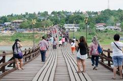 Wooden bridge or Mon Bridge in Sangklaburi, Thailand Stock Images