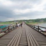 Wooden bridge or Mon Bridge in Sangklaburi, Thailand Royalty Free Stock Images