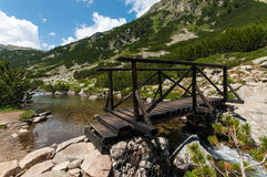 Wooden Bridge on a Mountain Stock Images