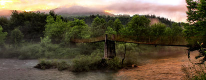 Wooden bridge in the mountain Stock Photography