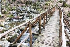 Wooden bridge mountain Royalty Free Stock Photos
