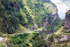 Wooden bridge in mountains landscape. Manali-Leh road in Indian Himalayas, Jammu and Kashmir State, North India Royalty Free Stock Photography