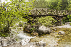 Wooden bridge in the mountains of Olympus, Greece Stock Image