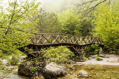 Wooden bridge in the mountains of Olympus, Greece Royalty Free Stock Photos