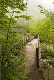 Wooden bridge in the mountains of Olympus, Greece Royalty Free Stock Photography