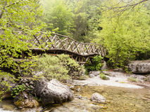 Wooden bridge in the mountains of Olympus, Greece Stock Photos